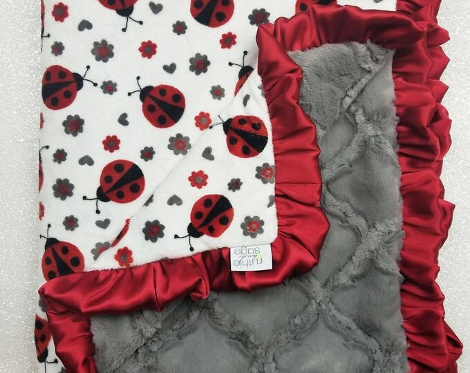 READY TO SHIP Minky blanket, baby girl blanket, baby gift, ladybug, red and grey, ruffle blanket, plush faux fur blanket, red and white