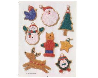 Vintage 90's HALLMARK Stickers Sheet ~ Glitter CHRISTMAS COOKIES Sprinkles Cat Tree Santa