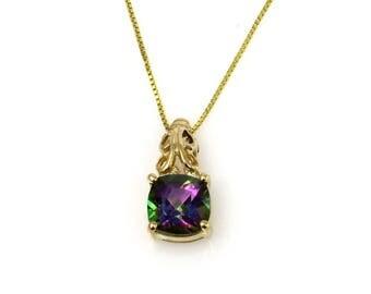 "Mystic Topaz 14k Gold Pendant Necklace,  20"" Chain"