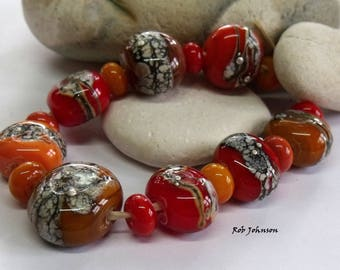 Autumn Stones, Lampwork Pebble Beads, SRA, UK