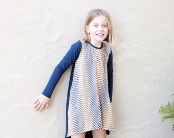 Girls First birthday outfit - Blue Swing Dress