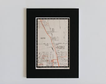 1950s map of Melbourne suburbs, Australia - Upfield, Fawkner, Glenroy, Hadfield, Melbourne general cemetery, ready to frame, 6 x 8""
