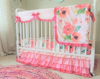 custom crib bedding watercolor floral bedding blush coral pink baby girl bedding ombre