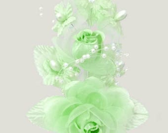 """6"""" Mint Green Silk Corsage Flowers with Pearl Spray"""