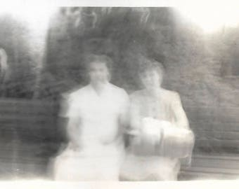 """Vintage Snapshot """"Ghostly Image"""" Blurry Out Of Focus Women On Park Bench Found Vernacular Photo"""