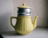 Vintage French Coffee Pot // 1950's Ceramic // Yellow // French Country Farmhouse Decor