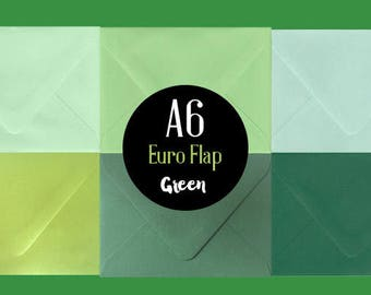 """SALE 10 Green A6 Envelopes - Choose your Color - 4 3/4"""" x 6 1/2"""""""
