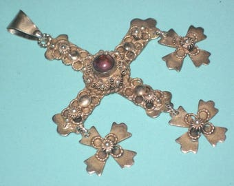 Vintage Taxco Mexico Sterling Silver 925 Amethyst YALALAG CROSS Pendant signed JCB