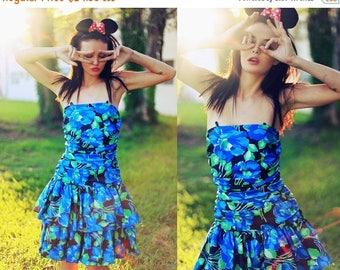 FLASH SALE 80s Blue Ruffles Dress Vintage Floral Spring Dress