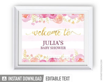 Welcome Sign - Floral Baby Shower - Girl Baby Shower - Floral Watercolor - INSTANT DOWNLOAD - Printable PDF with Editable Text (BB04)