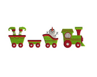 Mini Christmas Train Machine Embroidery Design Set-INSTANT DOWNLOAD