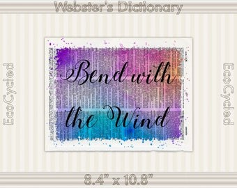 Bend with the Wind Inspirational Quote on Vintage Upcycled Dictionary Art Print Book Art Print meditation mindfulness gift motivational art