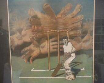1940's Cricket print The Batsman Fred Leist sports art, The Cricketer's nightmare, vintage cricket art, framed print,Resort decor