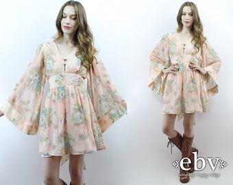 Angel Sleeve Dress Bell Sleeve Dress Hippie Wedding Dress Hippie Dress Hippy Dress 1970s Dress 70s Dress Boho Dress Festival Dress S
