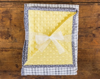 Gray and Yellow Minky and Flannel Baby Blanket