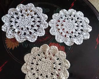 3 Crochet Doilies, Similar Pattern But Different, Sold Separately