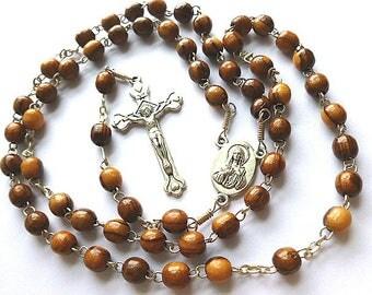 JERUSALEM ROSARY, Olive Wood Beaded Rosary, Vintage Wood Rosary with Silvertone Crucifix, Holy Land Rosary, Catholic, Prayer Beads, Jesus