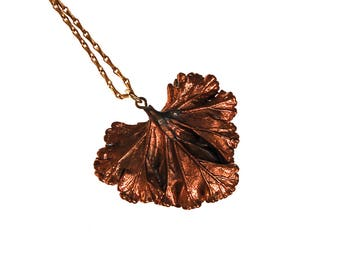 Copper Ginkgo Leaf Necklace, Boho, Organic, Nature Inspired