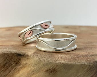 His & Hers Ivy Promise Rings, Mixed Metals Handmade Wave Wedding Bands