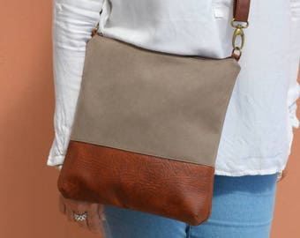 Crossbody Bag in Taupe and Brown, Everyday Purse, Shoulder Bag, Distressed Faux Leather and Upholstery Fabric Bag