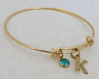 Birthstone and Initial Bangle .. gold bangle, charm bracelet