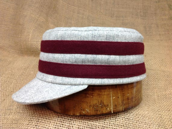 Light grey wool flannel boxcap with maroon wool bands and light grey 1910 visor. Fitted to any size.
