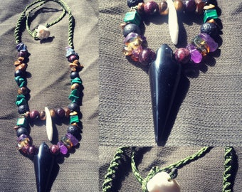 Obsidian and Coyote tooth necklace