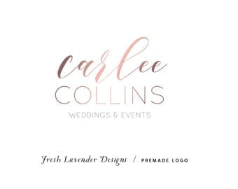 Custom Logo Design Premade Logo and Watermark for Photographers and Small Crafty Businesses Classic Rose Gold Text Only Name