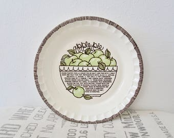Vintage Royal China by Jeannette Apple Pie Recipe Deep Dish Pie Plate USA