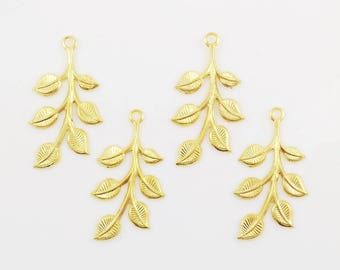 Gold Leaves, Leaf Stamping, Brass Finding, Left Facing, 20mm x 37mm - 4 pcs. (gd187)