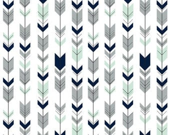 Fletching Arrows Contour Changing Pad Cover - Tribal, Baby, Western, Mint, Navy, Gray