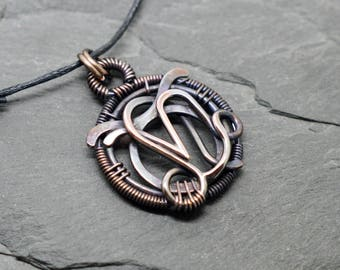 Taurus Leo Capricorn zodiac necklace wire wrapped oxidised copper