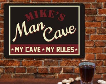 Personalized Man Cave Sign, Man Cave Sign with Name Man Cave Rules