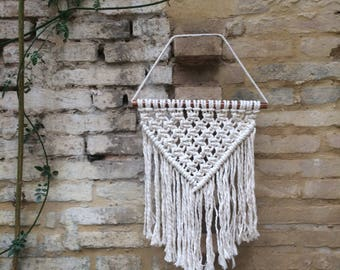 Triangle Modern Macrame Wall Hanging on Copper Pole