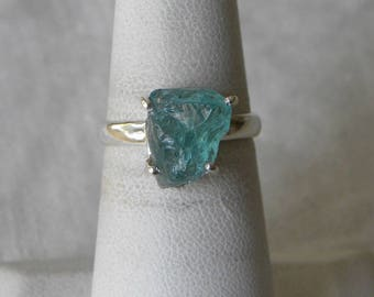 Aquamarine Ring Handmade Rough Semiprecious 12x10mm Aqua Blue Gemstone Ring Sterling Silver Ring Size 7 1/2 Aquamarine Jewelry Free Shipping