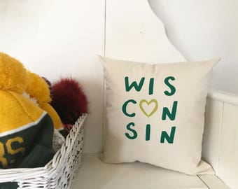Wisconsin Pillow - Home Decor, Midwest, Dairy State, Gift for him, Gift for her, Christmas, Packers