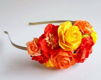 Autumn Fall Red Yellow Floral Headband Flower Fascinator Vintage Wedding Party Bridal Accessory Bridesmaid statement