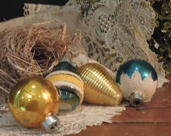 Four Vintage Mercury Glass Ornaments / Silver Gold and Blue Ornaments / Shiny Brite Ornament / Non Silvered Glass Ornament