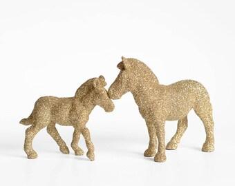 Safari Zebra New Mom and Baby Set. Unisex Baby Shower Decor. Gold Glitter Critter. Adult Zebra Baby Foal. Nursery Decor, Gift, Party Favor