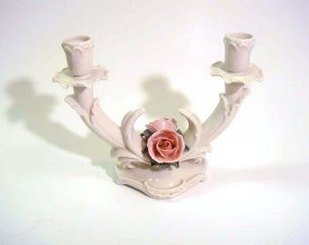 Karl Ens Porcelain Rose Candle Holder Wedding Centerpiece Hollywood Regency