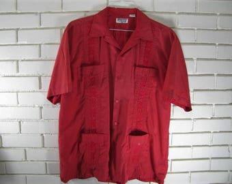 80's Red Guaybara Shirt size L