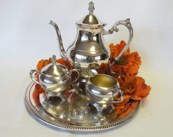 Silverplate Tea Set - Vintage Tea Service with Tray - FB Rogers - Wedding Decor, Home Decor, Holiday Server, Dining Room Accessory