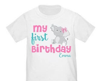 ON SALE 1st Birthday Pink Elephant Personalized Birthday Shirt - ANY Age