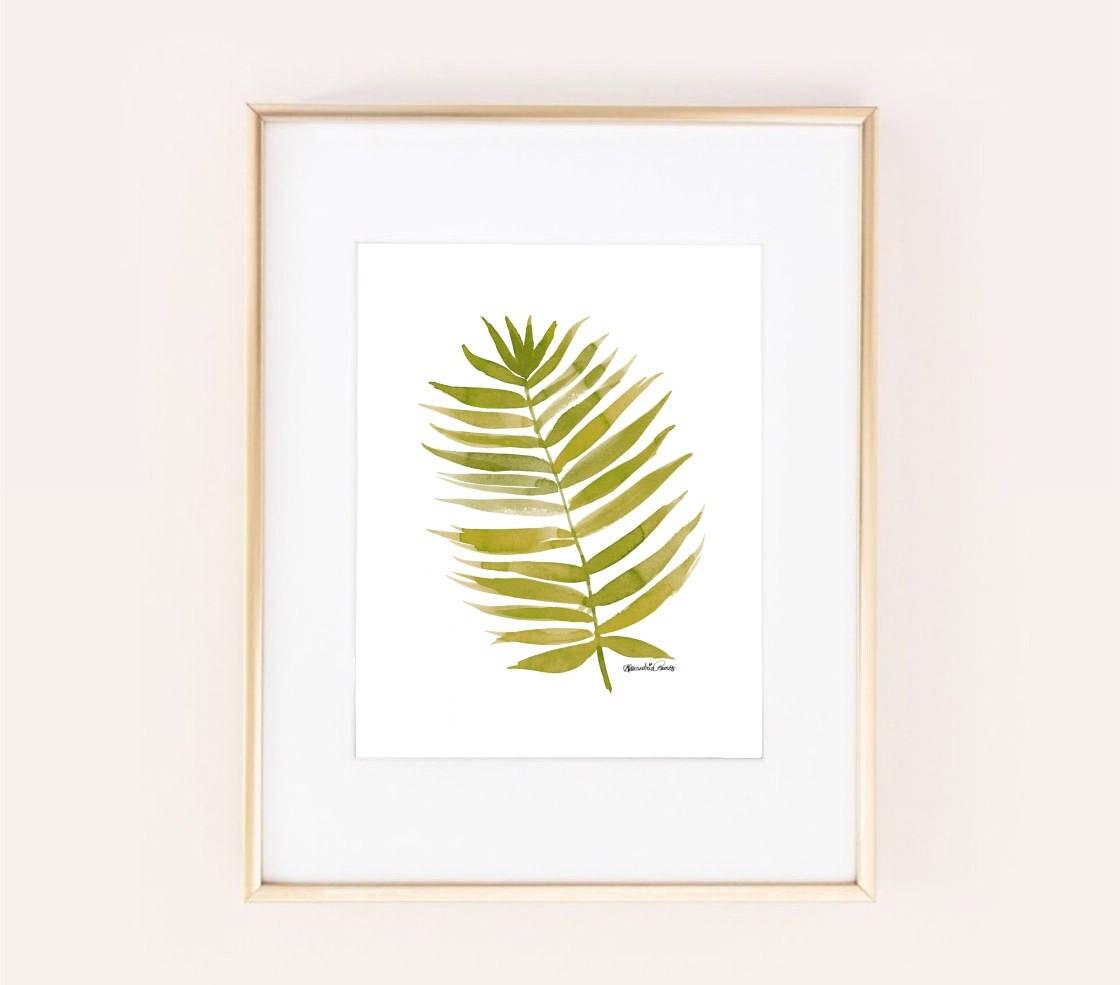 palm leaf watercolor painting print safari nursery green neutral