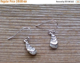 Tiny Silver Seashell Earrings, Antiqued Silver Plated Sea Shell Earrings, Nautical Jewelry, Sea Life Earrings, Gift From The Sea