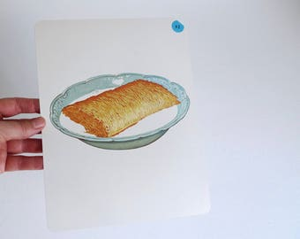 Large Vintage Flash Card of Shredded Wheat Cereal in a Bowl - 1965 Peabody Language Development