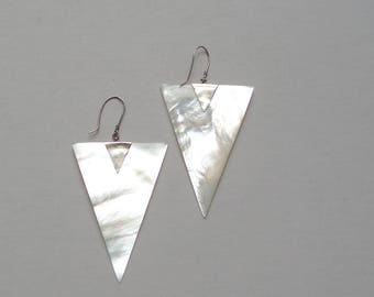 Huge 80s Sterling & Mother of Pearl Triangle Earrings.