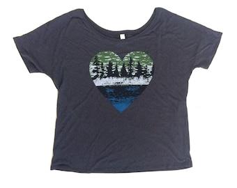 Lake Life, Womens Shirt, Modern Womens Apparel, Nature Lover, Womens Apparel, Flowy Tee
