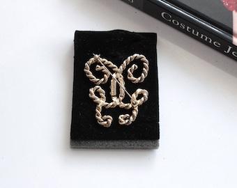 Guerlain  Vintage Gold Tone Monogram Logo  brooch/ Guerlain Couture  designer brooch    # 1526/2