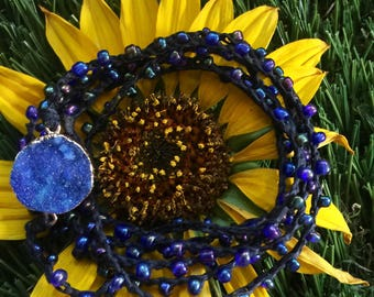 Blue Bomb: Versatile crocheted necklace / bracelet / belt / headband